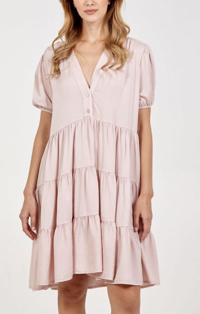PALE PINK TIERED BUTTON TUNIC TOP/DRESS ONE SIZE 10-18